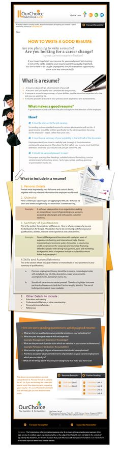 some resume writing good tips - Infographic