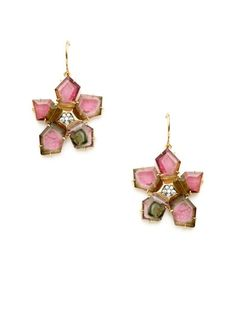 Jemma Wynne  Diamond & Bicolor Tourmaline Geometric Flower Drop Earrings by dena