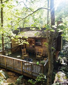 Cabin Fever Cabins In The Woods, House In The Woods, Cabin Homes, Log Homes, Cabin Porches, Little Cabin, Cabins And Cottages, Log Cabins, Forest House