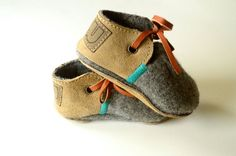 Etsy MWMeganWoods. Modern Jake wool and leather baby and toddler shoes with non-slip suede sole