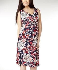 Take a look at this Navy & Red Arabesque Kara Maternity Dress by Soon Maternity on #zulily today!