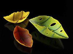 Penny Fuller, pate de verre autumn leaf vessels  http://jamfactory.com.au/people.php?type=Studio%20Tenants#