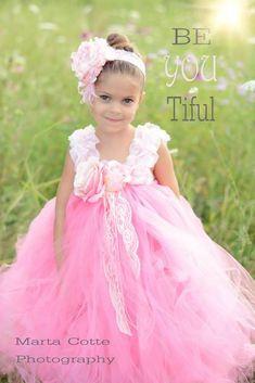 Girls Paris Pink Flower Girl Tutu Dress