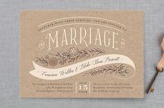 "CHRIS FAV""Rustic Banner"" - Floral & Botanical, Rustic Wedding Invitations in Kraft by Jennifer Wick."
