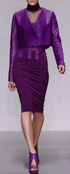 Fabulous Haute Couture - Shades of Purple by David Koma RTW Fall 2014 London Purple Love, All Things Purple, Shades Of Purple, Purple Dress, Deep Purple, Purple Fashion, High Fashion, Fashion Show, Womens Fashion