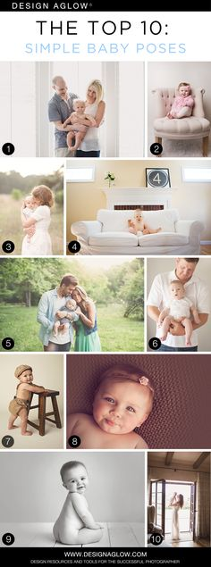 The Top 10: Simple Baby Poses | Photo Credit: Allison Corrin Photography (1), Peta Nikel (2), Fresh Light Photography (3, 6), Swinson Studios (4), Alissa Saylor Photography (5), Holly Dresher Photography (7), Natalie Adams Photography (8, 9), Aimee Pool Photography