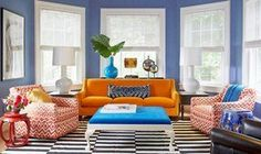 Ideas for the Living Room Color Schemes — Deco Home Decor Blue And Orange Living Room, Colourful Living Room, Cozy Living Rooms, Living Room Furniture, Living Room Decor, Dining Room, Bright Rooms, Office Furniture, Furniture Decor