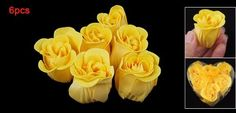 """Rosallini 6PCS Yellow Rose Design Scented Petal Bath Bathing Soap by Rosallini. $4.59. Heart Box Size: 3.75"""" x 3.1"""" x 1.6""""(L*W*H); Net Weight : 25.3g. Color: Yellow Rose; Size(Each One): 1"""" x 1.5""""/2.54 x 3.81cm(D*H). Features: Rose Shaped. Product Name: Bath Soap Petals. Package Content: 6 PCS x Bath Soap Petals. These petals are hand dipped in glycerin soap and rose fragrance. Drop a pretty rosebud into your bath, and you'll come out smelling like a rose! Use one petal ..."""