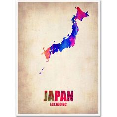 Trademark Fine Art Japan Watercolor Map Canvas Art by Naxart, Size: 24 x 32, Multicolor