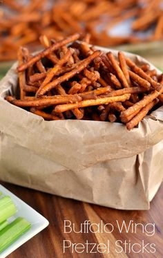 These Buffalo Wing Pretzel Sticks are the perfect snack to enjoy while watching the game!