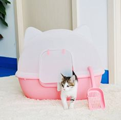 Buy Cat Pet Open Litter Box Kitty Pan Huge Kittens Indoor Toilet Clean With Scoop at online store Cardboard Cat House, Litter Box Covers, Baby Alive Dolls, Cat Accessories, Pink Cat, Buy A Cat, Cool Cats, Cats And Kittens, Pet Supplies