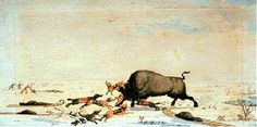"""""""Buffalo Hunt"""" by Peter Rindisbacher  circa 1822- 24 A depiction of how sled dogs were used by the Metis of the Red River Colony in the early 19th century."""