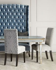 Haute House Eliza Dining Table, Silver Caramel Dining Chair, & Margo Tufted Banquette Home Decor Furniture, Dining Room Furniture, Home Furnishings, Furniture Design, Dining Rooms, Mirror Furniture, Furniture Ideas, Dinning Chairs, Dining Tables