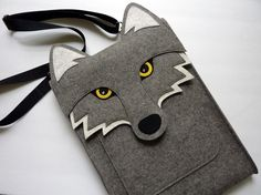 Felt wolf bag. Adorable!
