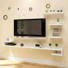 Decor Home Living Room, Home And Living, Room Decor, Lcd Wall Design, Table Tv, Backdrop Tv, Tv Unit Furniture Design, Interior Design Examples, Living Room Tv Unit Designs