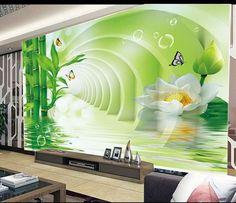 Wand tapeten hohl bambus lotus 3d wandmalerei tapeten papel de parede wandsticker