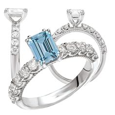 *18k Elite Collection lab-grown 7x5mm emerald cut Aquamarine Spinel engagement ring with natural diamonds