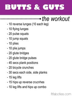 "The ""Butts & Guts"" Workout to tone your lower body and abs."