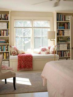 Bookshelves flanking window seat...El's room