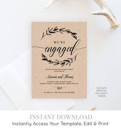 Engagement Invite Templates Cool Printable Engagement Invitation Rustic Editable Template  Printable .