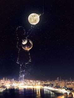 (notitle) - awesome pics/art I fall in love over and over again - John Wallpaper Shop Behance Illustration, Illustration Vector, Galaxy Wallpaper, Wallpaper Backgrounds, Moon Pictures, Beautiful Moon, Anime Scenery, Moon Art, Night Skies