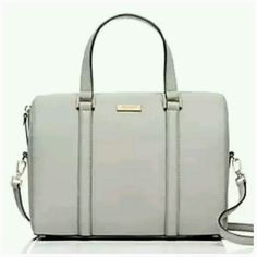 """***Final Reduction***Newbury Lane Cassie Beautiful light gray crosshatch leather purse. Top handles with removable cross body strap and zipper. Still in wrapping.   8.4"""" h x 12.3"""" W x 5.5"""" d Drop length: 12.6"""" Total strap length: 49.6""""  Pics 4 of actual purse . kate spade Bags"""