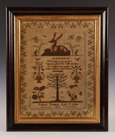 REBECCA MAIDMENT 1833 SAMPLER WITH ADAM AND EVE