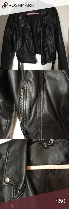 Black vegan leather motorcycle jacket New, unworn without tags, pleather biker jacket from Modcloth. Nice, soft material. Modcloth Jackets & Coats