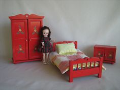 Vintage NOROK Wooden Flowered Bedroom Set in Play by TheToyBox