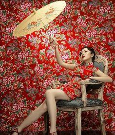 Floral wallpaper & dress. Beautiful image.