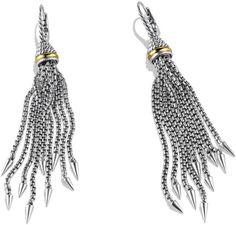 David Yurman Chain Earrings with Gold in Silver