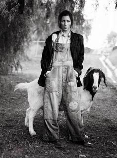 coveralls.  goats.  velvet. Jessica Biel for VOGUE
