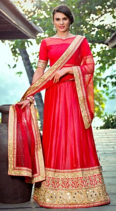 Red Colour Shimmer Georgette Wedding Wear Lehenga choli Buy Sarees