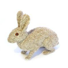 Crocheted rabbit sculpture by Shauna Richardson.