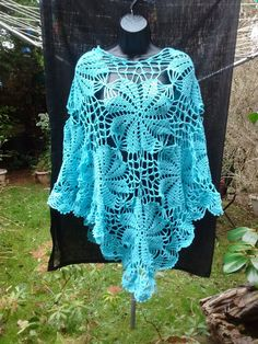 Knitted crochet poncho, lacy shawl, light airy summer wrap, lacey turquoise blue, feminine & romantic, flowers with pineapple edging by SnoopyLovesHibiscus on Etsy
