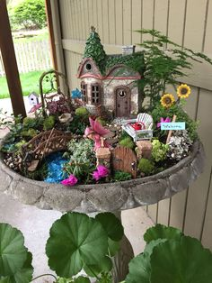 Even within minimum space you might have a colorful garden, so long as you've got an outstanding design program. This fairy garden in a fish bowl is perfect to keep in the house. It is similar to a miniature courtyard with a small house with moss roof, very small garden tools and just a hedgehog. Wh