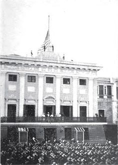 Raising the Flag over San Juan, October 18, 1898.        Title = Puerto Rico: its conditions and possibilities      Author = William Dinwiddie      Publisher = Harper & Bros.      Length = 293 pages      Subjects = Puerto Rico