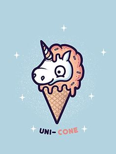 'Unicone' Funny Unicorn Ice Cream Cone Cartoon 18x24 - Vinyl Print Poster