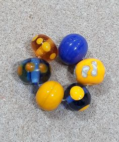 Blue and Yellow Lampwork Glass Bead set by bdenglass on Etsy