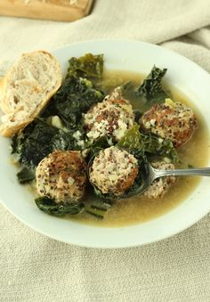Turkey Meatball and Kale Soup - Cooking Light, healthy and tasty dinner recipes your family will love. Turkey Meatball Soup, Turkey Meatballs, Soup Recipes, Dinner Recipes, Healthy Recipes, Healthy Soups, Clean Recipes, Cooker Recipes, Dinner Ideas