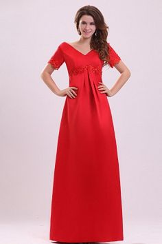 V-Neck Classic Red Evening Gown - Order Link: http://www.theweddingdresses.com/v-neck-classic-red-evening-gown-twdn2121.html - Embellishments: Applique; Length: Floor Length; Fabric: Satin; Waist: Empire - Price: 172.78USD