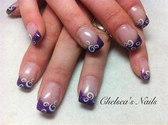 gel nails glitter purple