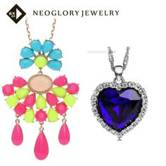 Neoglory Resin Colorful & Blue Pendant Two Necklace Fashion Statement Jewelry Set for Women Christmas Present   2014