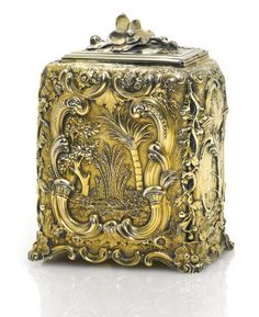 A George II silver-gilt chinoiserie tea caddy, Paul de Lamerie, London, 1744 Trailing Flowers, Tea Tins, Tea Strainer, Antique Boxes, Tea Caddy, Pretty Box, Exotic Fruit, Copper And Brass, Tea Bowls
