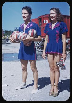 Famous mid-century juggler, Francis Brown, and his sister at the Ringling Brothers Barnum and Bailey Combined Show in 1949.