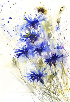 LIMITED edition print BEE blue flower cornflower insect illustration wall art home office decor hand signed watercolour art floral - Kunst / Fotografie / Anime / Comic / Fantasie / Märchen - Art Floral, Watercolor Flowers, Watercolor Paintings, Watercolor Pictures, Blue Flowers, Exotic Flowers, Yellow Roses, Pink Roses, Anime Comics