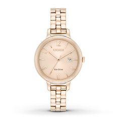 Classic lines with a chic design, this Citizen Silhouette ladies' watch will fit your style from day to night. The elegant watch has a rose-tone stainless steel case and bracelet with a rose-tone dial and a date window. The bracelet fastens with a push-button fold-over clasp. Citizen Eco-Drive is fueled by light, any light, so it never needs a battery.