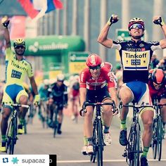#Repost @supacaz with @repostapp. ・・・ #Repost @tinkoffsaxo with @repostapp. ・・・ What a photo as @petosagan crosses the finish line victorious in #TdS2015 after a textbook lead-out by @benna80 #supacaz #superstickykush #white #starplugz #neonyellow #cycling