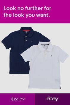 b98b8c8e3 Tommy Hilfiger Kids Polo Shirt Big Boys Mesh Collared Size 4-18 Solid  Childrens