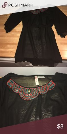 Sheer cover up Beautiful bead work! (Blue and orange)- says large but fits medium Tops